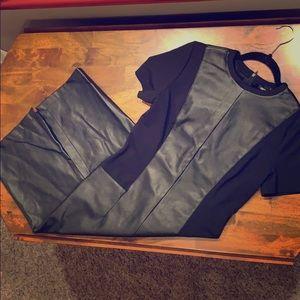 ASOS Faux Leather Panel Pencil Dress